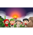 Children in camping outfi by the volcano vector image vector image