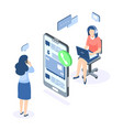 customer support isometric concept call center vector image