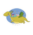 cute cartoon gnome is flying on a dragon elf and vector image vector image