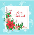 cute christmas card with poinsettia wreath vector image vector image