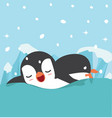 cute penguin swims in water vector image vector image