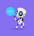 cute robot say hi isolated icon on blue background vector image vector image