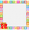 cute vibrant frame made of doodle hearts with vector image