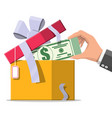 dollar money coins coming out gift box vector image vector image