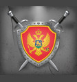 flag of montenegro the shield with national flag vector image vector image