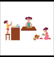 girl washing dishes cooking feeding her cat vector image vector image