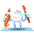 happy clean tooth concept background cartoon vector image vector image