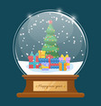 happy new year greeting card snowball vector image vector image