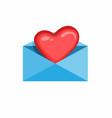 heart in letter love symbol in envelope icon car vector image vector image