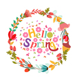 hello spring with flower and butterflies shape of vector image