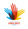 human rights month card of diverse people hands vector image vector image
