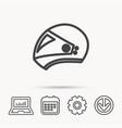 motorcycle helmet icon biking sport sign vector image vector image
