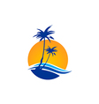 palm tree beach tropic travel logo vector image vector image