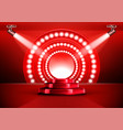 red award ceremony stage podium with spotlights vector image vector image