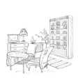 Room interior with couch and bookshelving vector image