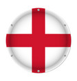 round metallic flag of england with screws vector image