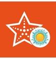 Sea starfish summer vacation sun splashes label