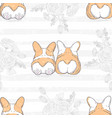 seamless pattern with two cute hand drawn dogs vector image