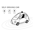 Self-driving car line icon vector image vector image