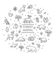 set linear forest animals vector image vector image