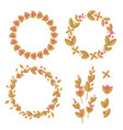 Set of decorative wreaths of flowers and leaves