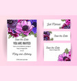 set wedding invitation card with anemone hand vector image