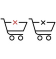 shopping trolley with a cross vector image vector image