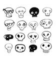 Skulls doodles set vector image
