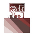 sport bar stand with barman behind it and vector image vector image