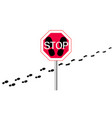 stop sign on a with footprints from shoes and legs vector image vector image