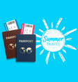 summer travel background with sketch sun vector image vector image