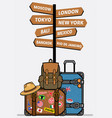 travel luggages with sign vector image