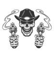 vintage monochrome sheriff skull vector image vector image