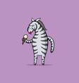 zebra is eating ice cream vector image