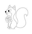 colorless funny cartoon squirrel with nut in hi vector image