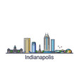 flat line indianapolis banner vector image