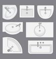 set of different wash basins vector image