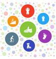 7 walking icons vector image vector image