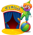 A clown at the top of a ball presenting the circus vector image
