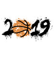 abstract number 2019 and a basketball from blots vector image vector image