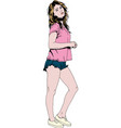 beautiful slim girl in casual clothes drawn in in vector image vector image