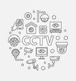 cctv round modern line symbol vector image vector image