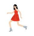 charismatic young woman in red dress going to vector image vector image