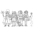 children in carnival costumes christmas party vector image vector image
