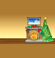 christmas card with fireplace 1 vector image vector image