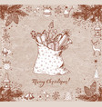 christmas card with sack full gifts gift boxes vector image vector image