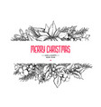 christmas garland frame card hand drawn vector image vector image