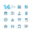 city elements - set line design style blue vector image
