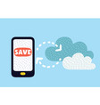 cloud upload from mobile phone to store data vector image vector image