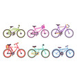 colorful bicycles collection sportive and city vector image vector image